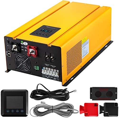 VEVOR Pure Sine Wave Power Inverter 6000W Low Frequency Inverter Peak 18000W Pure Sine Inverter Charger 48VDC 120V/240VAC Split Phase with Battery AC Charger, LCD Remote Controller Solar Inverter