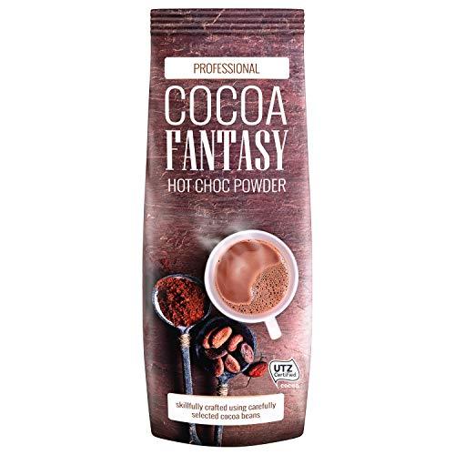 Cocoa Fantasy Hot Choc Powder Kakao, 1kg Trinkschokolade, instant Kakaopulver, weicher Geschmack, mit Karamellnote, 15% Kakaoanteil, UTZ-zertifiziert