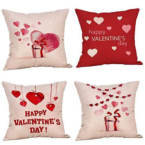 Nyfcc 4PC Happy Valentine Pillow Cases Linen Sofa Cushion Cover Home Decor Pillow Case, Pillow Case (Color : -, Size : -)