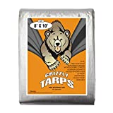 B-Air Grizzly Tarps - Large Multi-Purpose, Waterproof, Heavy Duty Poly Tarp Cover - 10 Mil Thick (Silver - 8 x 10 Feet)
