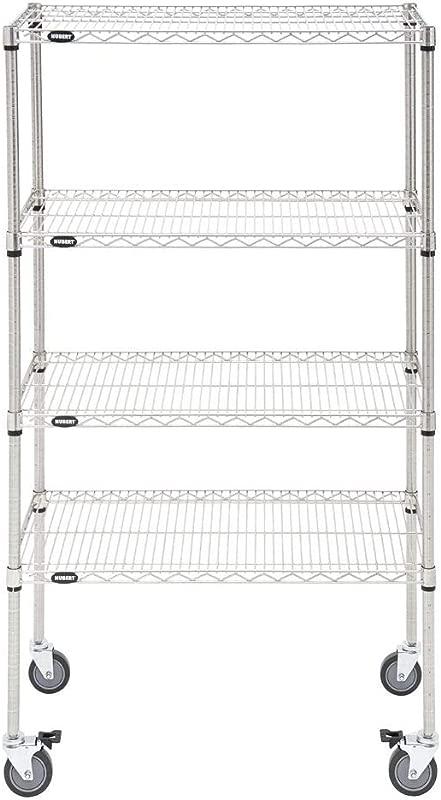 HUBERT Mobile Shelving Unit With 4 Shelves Silver Metal 36 L X 18 W X 69 H
