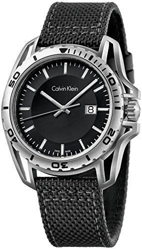 Calvin Klein Herren Analog Quarz Uhr mit Stoff Armband K5Y31TB1