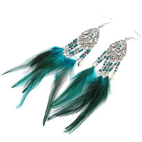 Anglacesmade Boheemse Veer Oorbellen Kralen Kwastje Kroonluchter Oorbellen Drop Dangle Oor Haak Tribal Oorbellen voor Vrouwen en Meisjes Headband and earrings Groen
