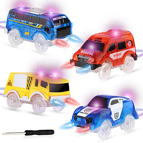 RACPNEL Track Cars Compatible with Most Tracks Light Up Replacement Car Toys, Glow in The Dark Car Tracks Accessories with 5 Flashing LED Lights, Best Gift for Boys and Girls ( 4 Pack )