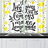 MOVTBA If Life Gives You Lemons Make Lemonade Kitchen Curtains Window Curtain Tiers for Café, Bath, Laundry, Living Room Bedroom 26 X 39 Inch 2 Pieces