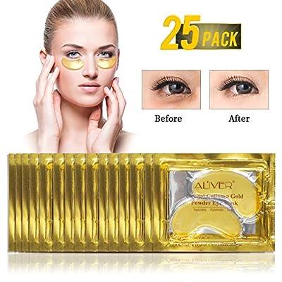 (25 Pairs) ALIVER Crystal 24K Gold Powder Gel Collagen Eye Mask,Premium Anti Aging, Anti Wrinkle, Moisturiser for Under Eye Wrinkles, Remove Eye Bags, Under-eye, Dark Circles,Hydrating, Puffy Eyes