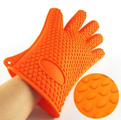 Dbtxwd Outils de bicarbonate épaissies anti-dérapant Silicone gant chaleur isolation four gants cinq doigts (jeu de 2) , orange