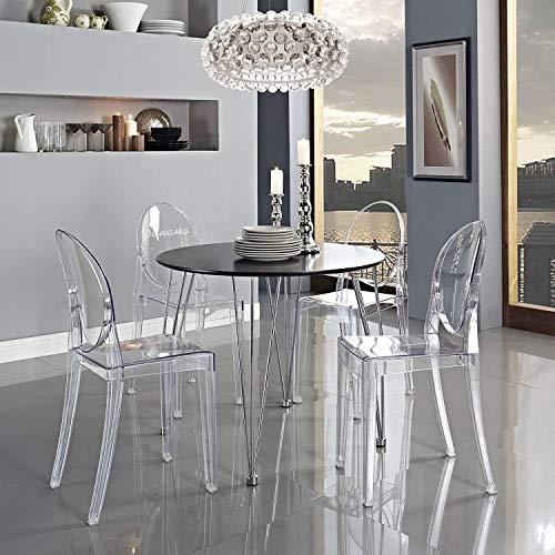 4 x Design Stuhl Transparent Moderner Esszimmerstuhl Wohnzimmerstuhl Komfortables Sitzen für Familie Restaurant und Außen - Transparent