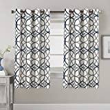 Blackout Curtains for Bedroom 63 Thermal Insulated Curtains for Living Room Window Treatment Grommet Curtain Draperies, Grey and Navy Geo Pattern - 2 Panels - 52 by 63 inch Each Panel