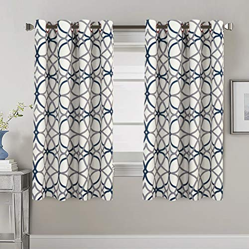 H.VERSAILTEX Thermal Insulated Blackout Curtains Energy Smart Saving Easy Care Grommet Panels for Living Room- 52 inch Width by 63 inch Length- Set of 2 Panels- Grey and Navy Geo Pattern