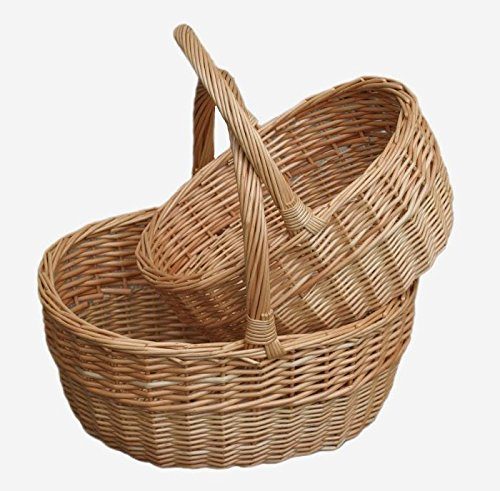Red Hamper Willow Wicker Shopping Basket Buff Oval Shopper Set 2