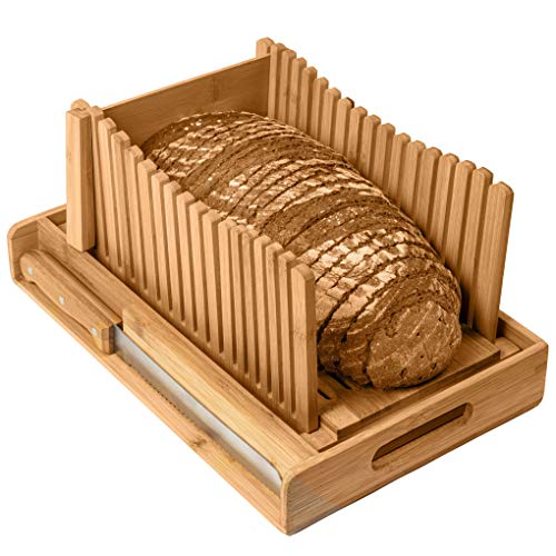 Kitchen Seven Bamboo Bread Slicer with Crumb Tray Bamboo Bread Cutter for Homemade Bread, Loaf...