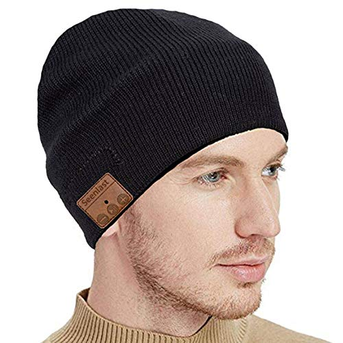 seenlast Bluetooth Beanie Musik Mütze, Upgrade Bluetooth 5.0 Beanie Hut Kopfhörer Mütze mit Lautsprecher, Waschbar Strickmütze Herren Damen Geschenke für Outdoor Sport