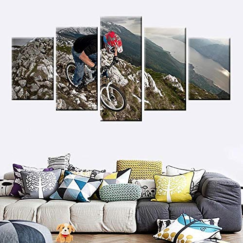 YOUQIANREN Canvas Paintings 5 Piece Wall Art Sport mountain bike cliff Framed Modular Modern Artwork Pictures Posters Wallpaper Mural Living Room Home Office Gift Stretched Ready To Hang(40inx22in)