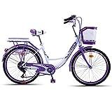 JHKGY Bicicleta De Crucero,Hombres Y Mujeres Adultos Que Viajan En Bicicleta,Bicicleta De Coches Retro,con Cesta De La Compra,para Personas Mayores, Hombres Unisex,Púrpura,24 Inch