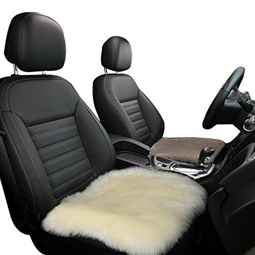 eSituro SCSC0009 Auto Sitzbezug Sitzkissen, Stuhlkissen, Lammfell, 50x50cm, Creme