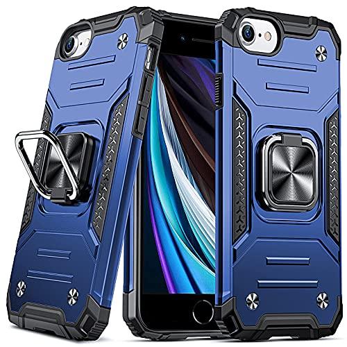 DASFOND Cover Compatibile con iPhone SE 2020/7/8/6/6S,Grado Militare Test di Caduta da 15 Piedi,Cavalletto Rotante a 360 ° Piastra Metallica Magnetica per Supporto da Auto, Blu