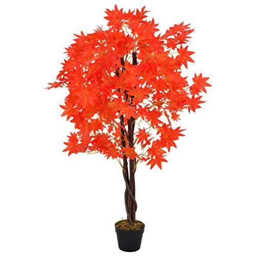 vidaXL Planta Artificial Decoración Árbol Arce Maceta Flores Decorativas Realistas Exterior Interior Oficina Hojas Plástico 120 cm Alta Roja