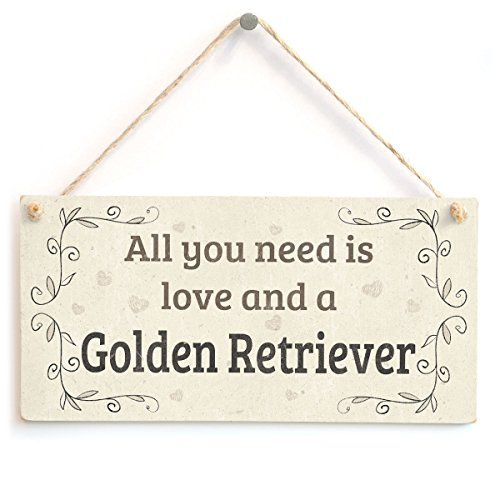 Meijiafei All You Need is Love and A Golden Retriever - Country Home Style Home Accessory Gift Sign for Golden Retriever Dog Owners 10'x5'