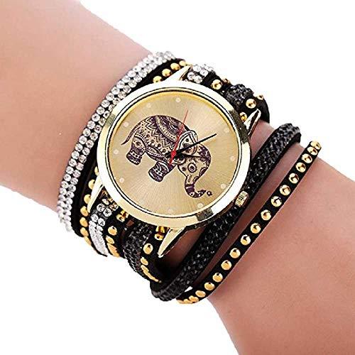 Reloj de Cuarzo de Las Mujeres,WSSVAN señoras Coronas de Terciopelo sinuoso Reloj Pulsera Personalidad Retro Elefante patrón círculo Moda Mujer Reloj Reloj de Cuarzo Casual (Negro)