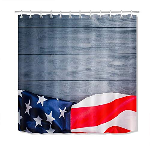 FANG2018 Graues Holz Bord amerikanische Flagge Duschvorhang Bad strapazierfähigem Stoff Schimmel Bad Anhänger Kreative mit 12 Haken 180x180 cm