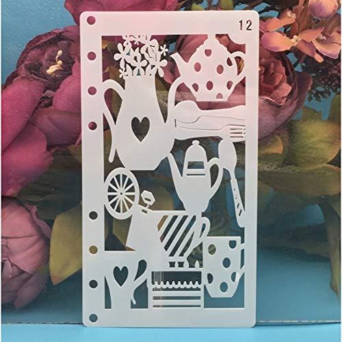 HQERUS Mandala-Schablonen Kaffeetasse Teekanne DIY Craft Layering Schablonen Wandmalerei Scrapbooking Stempeln Prägung Album Papierkartenvorlage