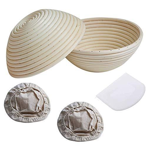 panthem Gärkorb Rund, Ø 20 cm, Höhe 8 cm, Gärkörbchen für Brot und Teig bis zu 0,6 kg Teig, 2 Brotkorb für Brot Backen mit 1 Teigschaber 2 Brottasche