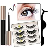 Meredmore Magnetic Eyeliner and Lashes Kit Magnetic Eyeliner with Magnetic Lashes Sets Magnetic False Lashes with Magnetic Eyeliners Kit With Reusable Lashes and Tweezers [4-Pairs]