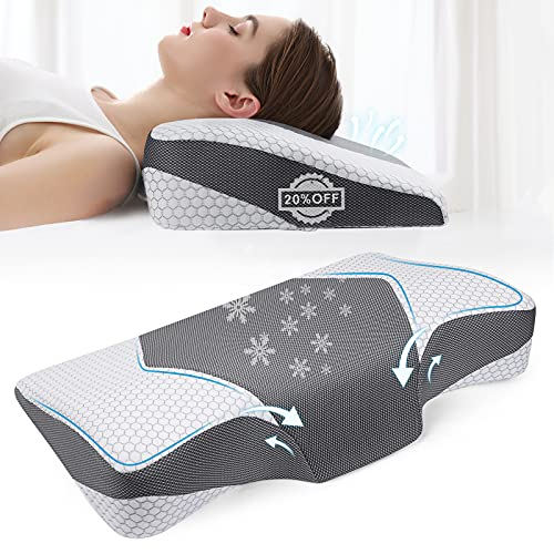 Mkicesky Neck Pillow for Sleeping, Cervical Memoery Foam Pillow, Ergonomic Neck Support Pillow, Contour Pillow for Neck and Shoulder Pain, Orthopedic Sleeping Pillow for Back Side and Stomach Sleeper