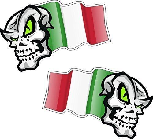 Handed Paar Schedel Mascotten Met Vliegende Italië Italiaanse Vlag Ontwerp Voor Motorfiets Helm Auto Sticker 100x65mm elk