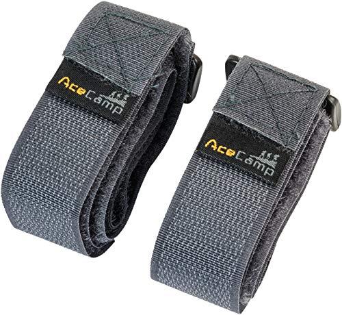 AceCamp Klettgurt Packriemen 2.5 x 30 cm Klettband Klettverschluss Allzweckgurt Befestigungsriemen, Fahrrad, Sport, Grau, 9112
