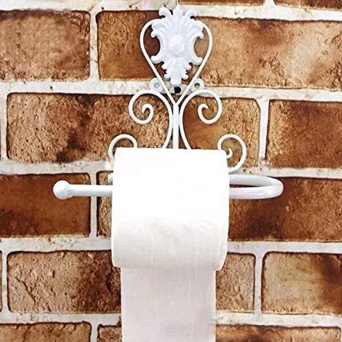 portarrollos baño Accesorios de baño clásico del hierro de la vendimia del papel higiénico del rollo de toallas de baño titular de montaje en pared en rack-White Soporte para papel higiénico