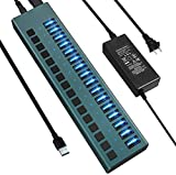 USB 3.0 Hub -16 Ports Powered USB Hub 90W USB Charging Hub with Individual On/Off Switches and 12V/7.5A Power Adapter and Multi-USB Port for PC,Laptop, Computer, Mobile HDD, Flash Drive and More(Gree