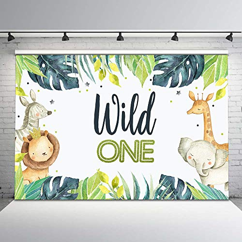 Mocsicka Boys Wild One Safari Backdrop 1st Birthday Photo Background 7x5ft Jungle Animal First Birthday Backdrops