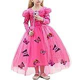 IWEMEK Niñas Disfraz de Carnaval Vestido de Mariposas Cenicienta Traje de Princesa Disfraces de Halloween Navidad Cumpleaños Pageant Comunión Fiesta Cinderella Cosplay Rosa Fuerte 5 Años