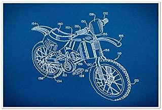 ArtsyCanvas Dirt Bike Gearhead Blueprint Art (36x24 Poster) 36
