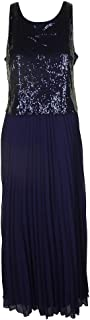 MSK Womens Party Sequined Evening Dress Navy 12