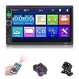 Autoradio doppio Din -7'' autoradio con sistema vivavoce Bluetooth, lettore MP5 multimediale con supporto pulsanti Radio FM/USB/AUX/TF, autoradio 2Din con telecamera per retromarcia, telecomando