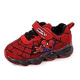 Luz LED niños niños niños dibujos animados zapatos luminosos zapatillas de deporte entrenadores nuevo Spiderman luz hasta entrenadores (6, rojo)