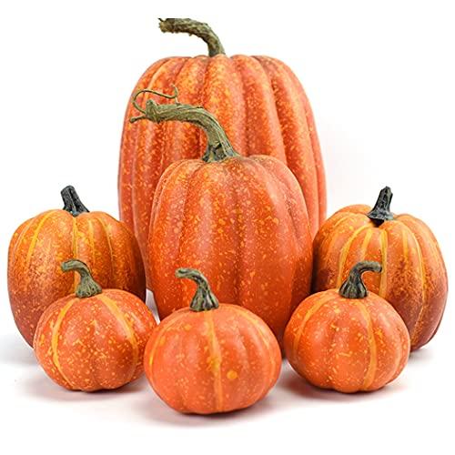 Künstlicher Kürbis, Halloween, 7 Stück, klein, künstliches Gemüse, Schaumstoff-Kürbis.