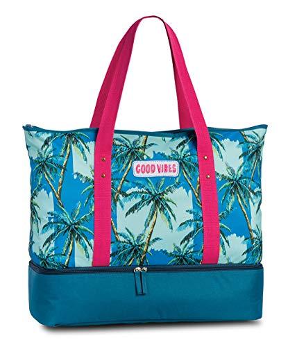 Strandtasche und Kühltasche 2in1 Badetasche Umhängetasche Extrafach mit Kühlfunktion Good Vibes Palmen Design in Türkis Petrol