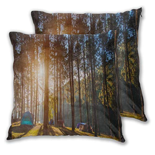 others European Style Square Pillowcase 2-Piece Set, 100% Polyester Fiber (Polyester Velvet) Cushion Pillowcase 2-Piece Set Adventures Camping Tourism and Tent Under The View Pine Forest