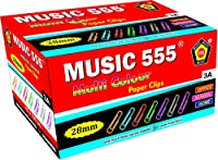 Music 555 Paper Clips, U Clips, Gem Clips, 28mm, (1000 PCS) Multi-Colored for Office, Home & School