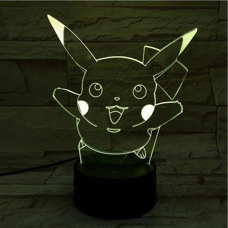 Lampara LED Videojuego Pokémon Pikachu Salto Cambia Color USB Luz nocturna y decoración