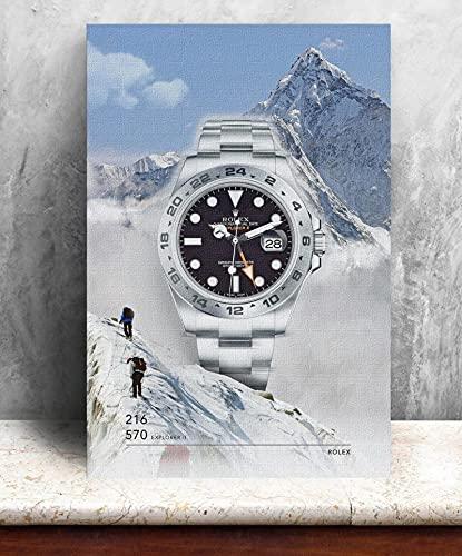 HYY-YY Rolex Hombres Reloj Paisaje Modular Pintura Moderna Lienzo Arte póster Impresiones Pared Arte Imagen Living Cuadros decoración de Pared (50x70cm) sin Marco