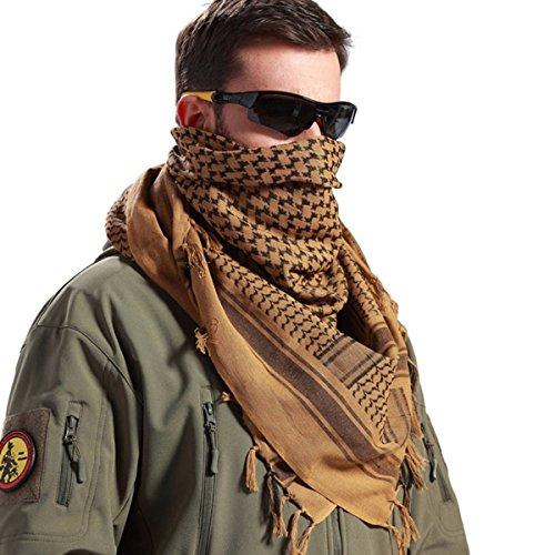 FREE SOLDIER 100% Baumwolle Shemagh Military Tactical Keffiyeh Desert Kopf Halstuch 110 x 110 cm Arab Wrap mit Quaste für Herren & Damen, Braun