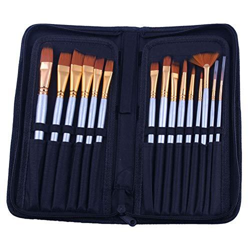 15 tringles courtes bicolores en nylon cheveux noir brosse à huile sac en tissu noir mis art outils de peinture (Couleur : Noir)