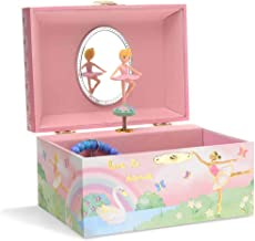 Jewelkeeper Girl`s Musical Jewelry Storage Box with Spinning Ballerina, Rainbow and Gold Foil Design, Swan Lake Tune