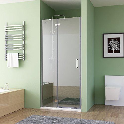 Nischentür Duschabtrennung Falttür Duschwand Dusche Nano Glas Scharniertür 90 x 195 cm