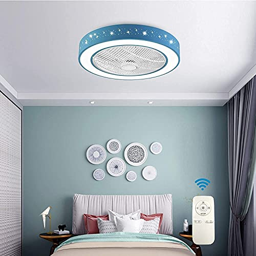"""Lámpara de Techo, Ventilador de Techo Invisible de 22""""con luz, Ventilador de lámpara de Techo Redondo Moderno de 22 Pulgadas con Montaje Semi Empotrado, Tambor Sha (luz de lámpara)"""